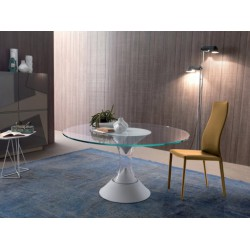 Table ronde SAMAYA verre transparent soufflé murano piétement médium laqué blanc ou bronze